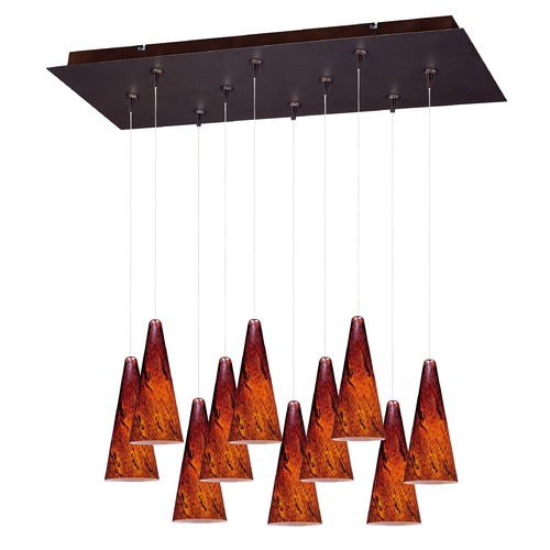 ET2 Lighting Minx Bronze Multi-Light Pendant with Conical Shade E93929-102BZ