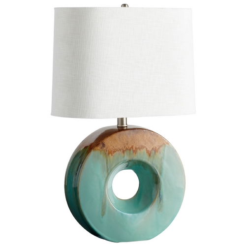 Cyan Design Cyan Design Oh Blue Glaze & Brown Table Lamp with Drum Shade 5213