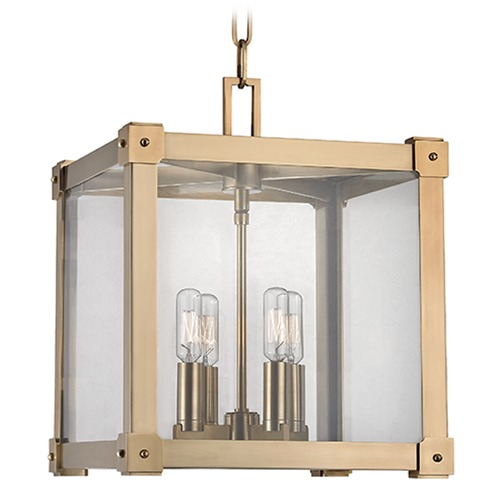 Hudson Valley Lighting Forsyth 4 Light Pendant Light Square Shade - Aged Brass 8612-AGB