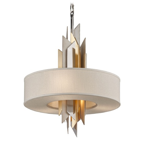 Corbett Lighting Corbett Lighting Modernist Polished Stainless / Silver & Gold Leaf Pendant Light with Drum Shade 207-44