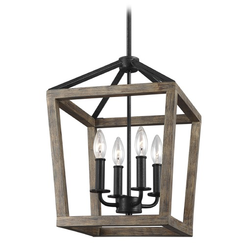 Feiss Lighting Feiss Lighting Gannet Weathered Oak Wood / Antique Forged Iron Pendant Light F3190/4WOW/AF
