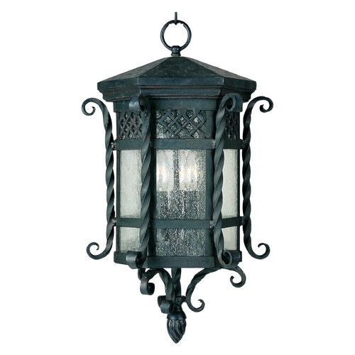 Maxim Lighting Outdoor Hanging Light with Clear Glass in Country Forge Finish 30128CDCF