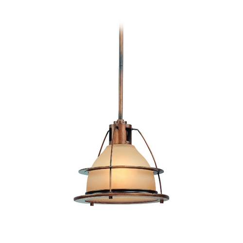 Troy Lighting Nautical Pendant Light with Amber Glass in Bronze Finish FF2057SBZ