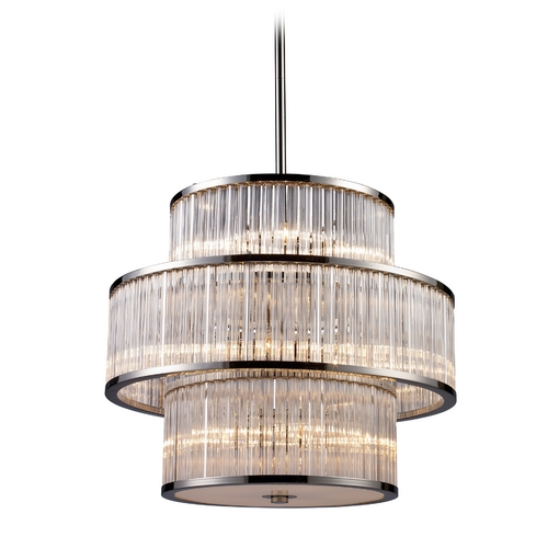 Elk Lighting Modern Drum Pendant Light with Clear Glass in Polished Nickel Finish 10130/5+5+5