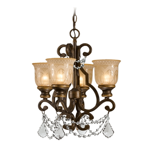 Crystorama Lighting Crystal Mini-Chandelier with Amber Glass in Bronze Umber Finish 7504-BU-CL-SAQ