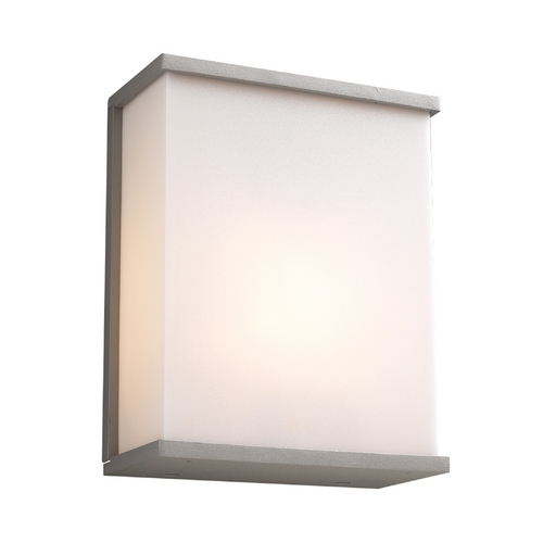 PLC Lighting Modern Outdoor Wall Light with White Glass in Silver Finish 1723 SL