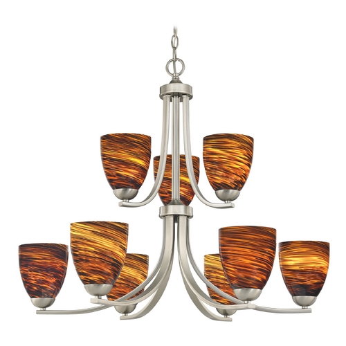 Design Classics Lighting Modern Chandelier with Brown Art Glass in Satin Nickel Finish 586-09 GL1023MB