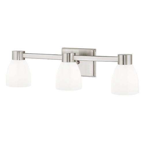Design Classics Lighting 3-Light Shiny White Glass Bathroom Vanity Light Satin Nickel 2103-09 GL1024MB