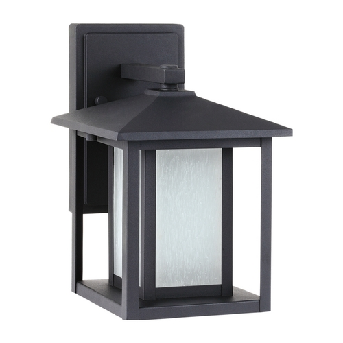 Sea Gull Lighting Outdoor Wall Light with White Glass in Black Finish 89029BLE-12