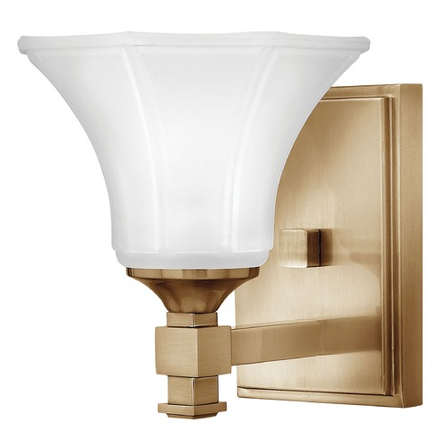 Hinkley Sconce with White Glass in Brushed Caramel Finish 5850BC