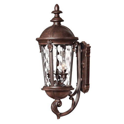 Hinkley Outdoor Wall Light with Clear Glass in River Rock Finish 1894RK