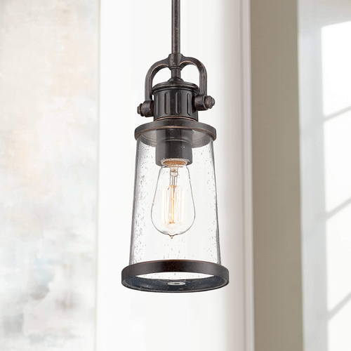 Quoizel Lighting Seeded Glass Mini-Pendant Light Bronze Quoizel Lighting SDN1506IB