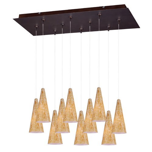 ET2 Lighting Minx Bronze Multi-Light Pendant with Conical Shade E93930-103BZ