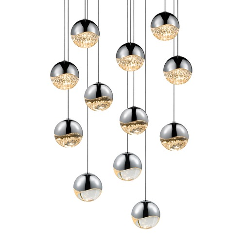 Sonneman Lighting Sonneman Grapes Polished Chrome 12 Light LED Multi-Light Pendant 2917.01-MED