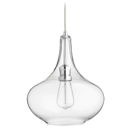 Quorum Lighting Quorum Lighting Chrome Pendant Light with Bowl / Dome Shade 8004-14