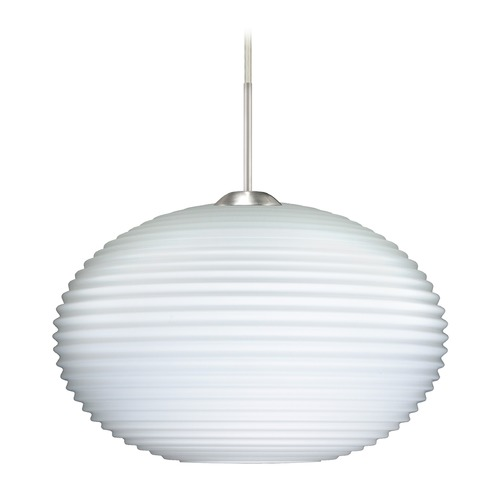 Besa Lighting Besa Lighting Pape Satin Nickel LED Pendant Light with Globe Shade 1JT-491207-LED-SN