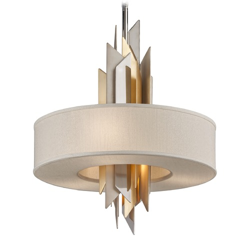 Corbett Lighting Corbett Lighting Modernist Polished Stainless / Silver & Gold Leaf Pendant Light with Drum Shade 207-44-F