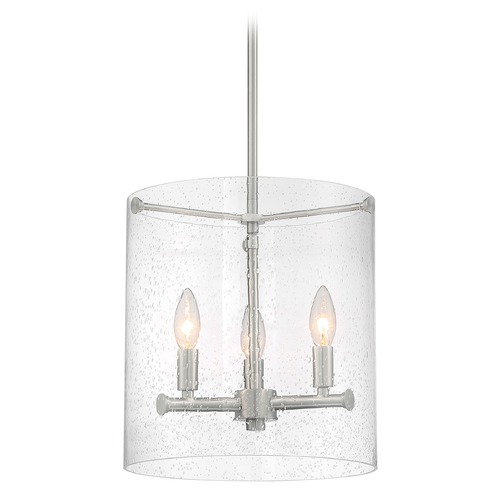 Satco Lighting Satco Lighting Bransel Brushed Nickel Pendant Light with Cylindrical Shade 60/7187