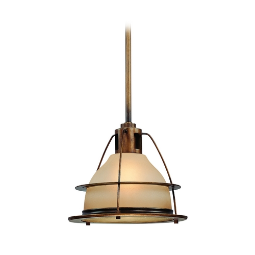 Troy Lighting Nautical Pendant Light with Amber Glass - 15-Inches Wide FF2058SBZ