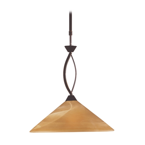 Elk Lighting Modern Pendant Light with Beige / Cream Glass in Aged Bronze Finish 6550/1