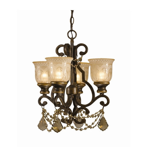 Crystorama Lighting Crystal Mini-Chandelier with Amber Glass in Bronze Umber Finish 7504-BU-GT-MWP