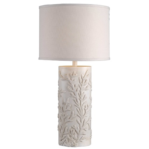 Kenroy Home Lighting Table Lamp with White Shade in Antique White Finish 32267AWH