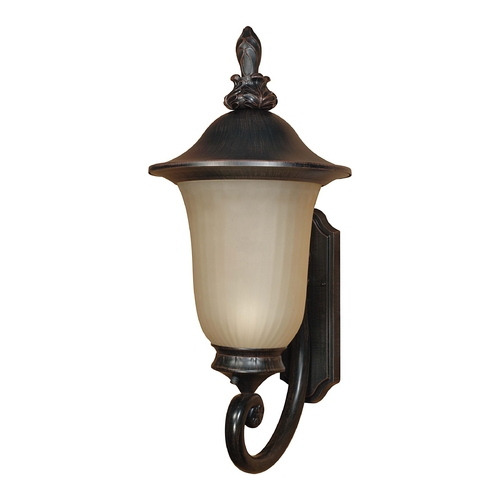 Nuvo Lighting Outdoor Wall Light with Beige / Cream Glass in Old Penny Bronze Finish 60/2507