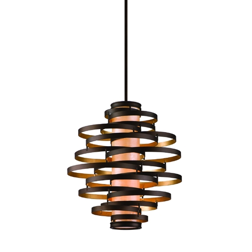 Corbett Lighting Vertical Pendant Light with Inner Glass Cylinder Shade and Four Lights 113-44