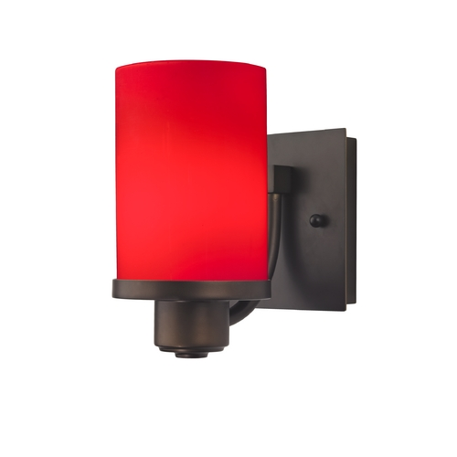 Design Classics Lighting Bronze Wall Sconce with Red Cylinder Glass 589-220 GL1008C