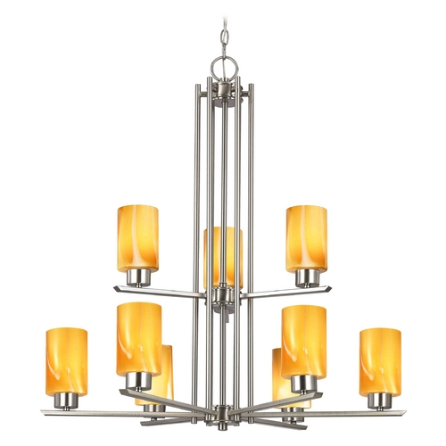 Design Classics Lighting Chandelier with Butterscotch Art Glass in Satin Nickel - 9-Lights 1122-1-09 GL1022C