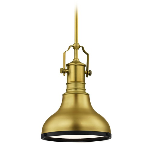 Design Classics Lighting Farmhouse Brass / Black Small Pendant Light 8.63-Inch Wide 1765-12 SH1778-12 R1778-07