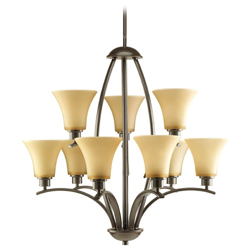 Progress Lighting Progress Chandelier with Brown Glass in Antique Bronze Finish P4492-20