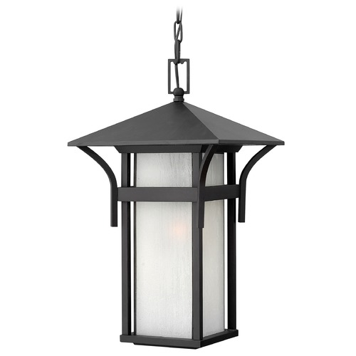 Hinkley Etched Seeded Glass Outdoor Hanging Light Black Hinkley 2572SK