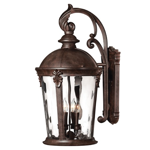 Hinkley Lighting Outdoor Wall Light with Clear Glass in River Rock Finish 1899RK