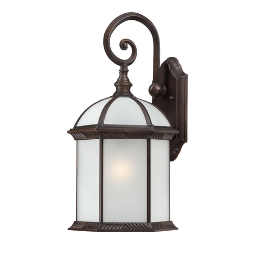 Nuvo Lighting Outdoor Wall Light with White Glass in Rustic Bronze Finish 60/4985