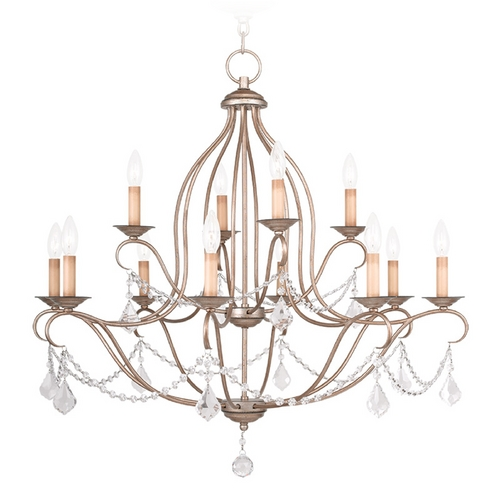Livex Lighting Livex Lighting Chesterfield Antique Silver Leaf Crystal Chandelier 6438-73