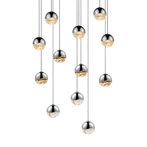 Sonneman Lighting Sonneman Grapes Polished Chrome 12 Light LED Multi-Light Pendant 2917.01-SML