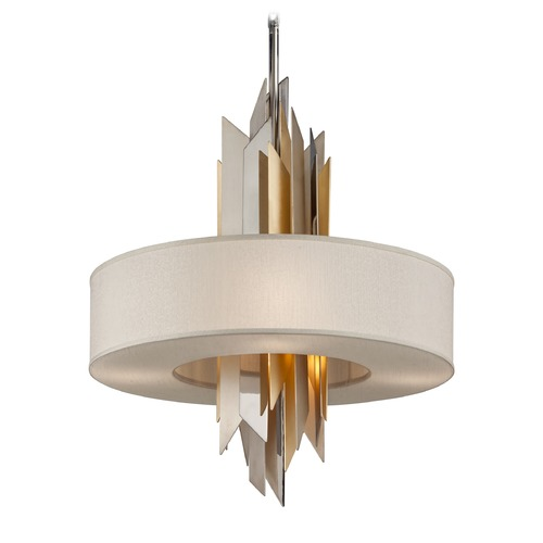 Corbett Lighting Corbett Lighting Modernist Polished Stainless / Silver & Gold Leaf Pendant Light with Drum Shade 207-46