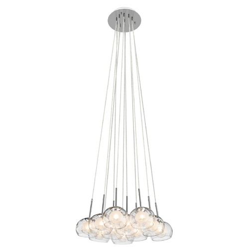 Elan Lighting Elan Lighting Niu Chrome Multi-Light Pendant with Bowl / Dome Shade 83074