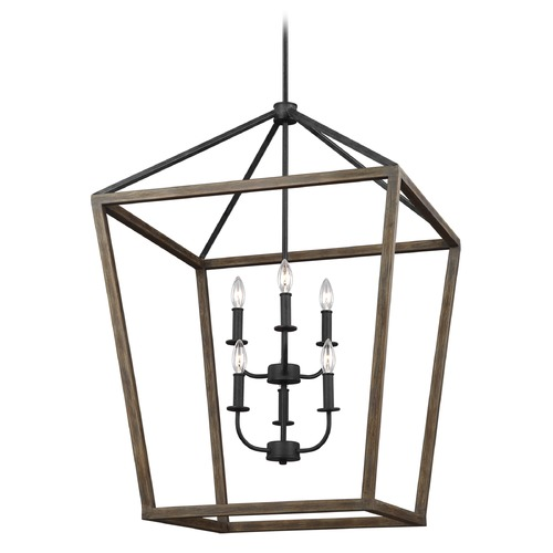 Feiss Lighting Feiss Lighting Gannet Weathered Oak Wood / Antique Forged Iron Pendant Light F3192/6WOW/AF
