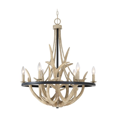 Quoizel Lighting Rustic Black Chandelier with Faux Antlers by Quoizel Lighting JR5006EK