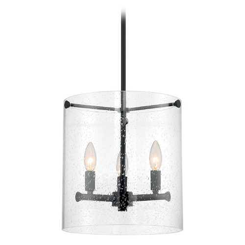 Satco Lighting Satco Lighting Bransel Matte Black Pendant Light with Cylindrical Shade 60/7287