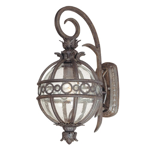 Troy Lighting Outdoor Wall Light with Clear Glass in Campanile Bronze Finish B5001CB