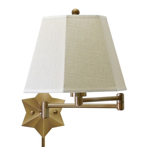 House of Troy Lighting Swing Arm Lamp with Beige / Cream Shade in Antique Brass Finish WS751-AB
