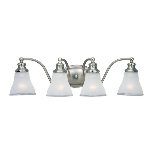 Sea Gull Lighting Bathroom Light with White Glass in Two Tone Nickel Finish 40012-773