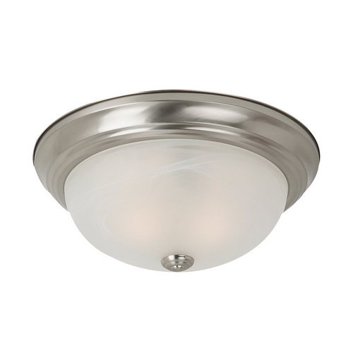 Sea Gull Lighting Flushmount Light with Alabaster Glass in Brushed Nickel Finish 75940-962
