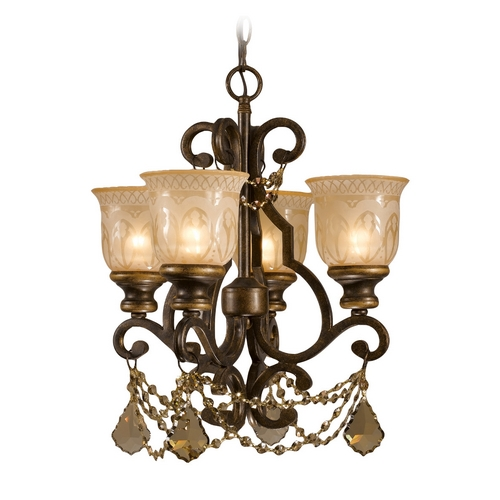 Crystorama Lighting Crystal Mini-Chandelier with Amber Glass in Bronze Umber Finish 7504-BU-GTS