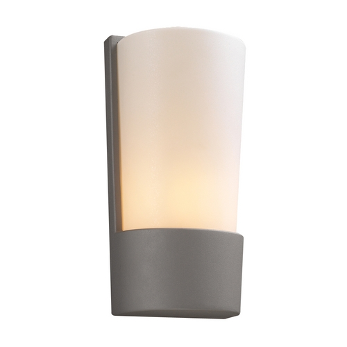 PLC Lighting Modern Outdoor Wall Light with White Glass in Silver Finish 1721 SL
