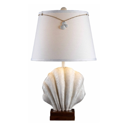 Kenroy Home Lighting Table Lamp with White Shade in Antique White Finish 32268AWH