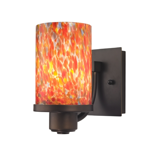 Design Classics Lighting Bronze Wall Sconce with Multi-Colored Art Glass 589-220 GL1012C